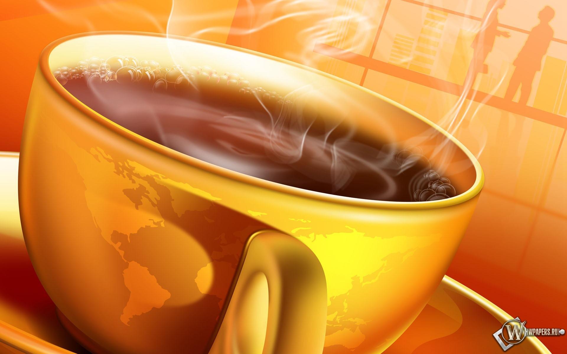 Чашка горячего кофе 1920x1200