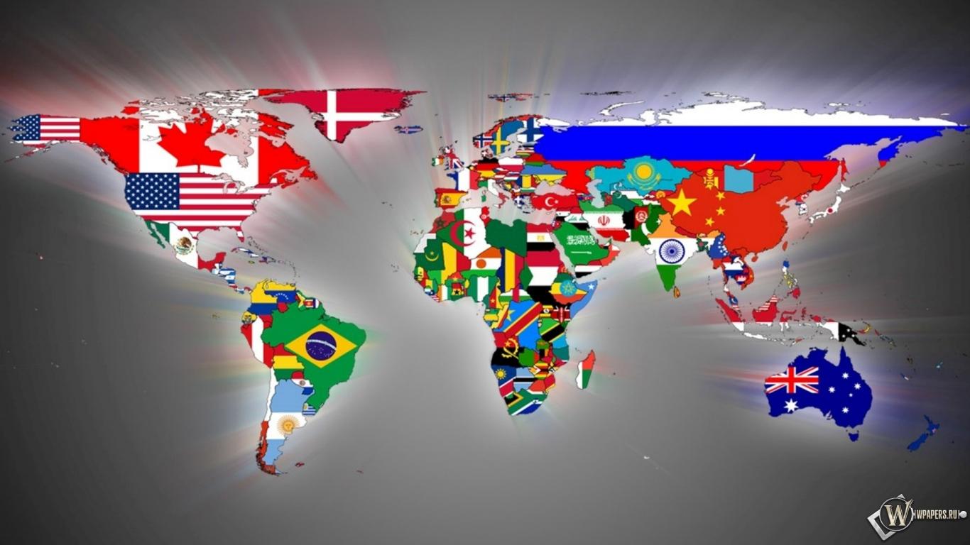 Карта мира 1366x768