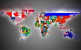 Обои Карта мира: Континенты, Флаги, Страны, Разное