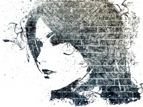 Обои Девушка граффити: Девушка, Лицо, Кирпич, Профиль, Разное