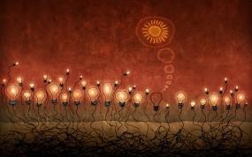 Обои Красные лампочки: Свет, Солнце, гений, Разное