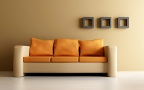 Обои Оранжевый диван: Диван, Дом, Стиль, Дизайн, Разное