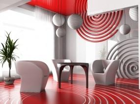 Обои Красный интерьер: Красный, Столик, интерьер, кресла, Разное