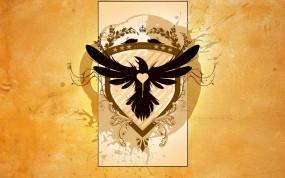 Обои Ворон эмблема: Сердце, Желтый, Эмблема, Ворон, Разное