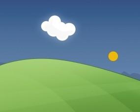 Обои Позитивная весна: Зелень, Солнце, Трава, Небо, Гора, Облако, Разное