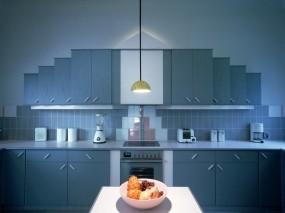 Обои Синяя кухня: Квартира, Кухня, Дизайн, интерьер, Разное