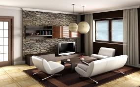 Обои Современный интерьер: Диван, Кресло, Телевизор, интерьер, Разное