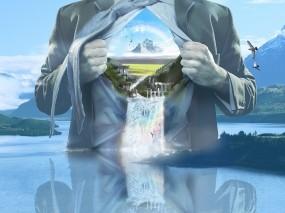 Обои Мир Jerico Santander: Водопад, Человек, Радуга, Разное