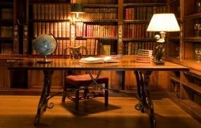 Обои Библиотека: Комната, Глобус, Стол, Стул, Лампа, Разное
