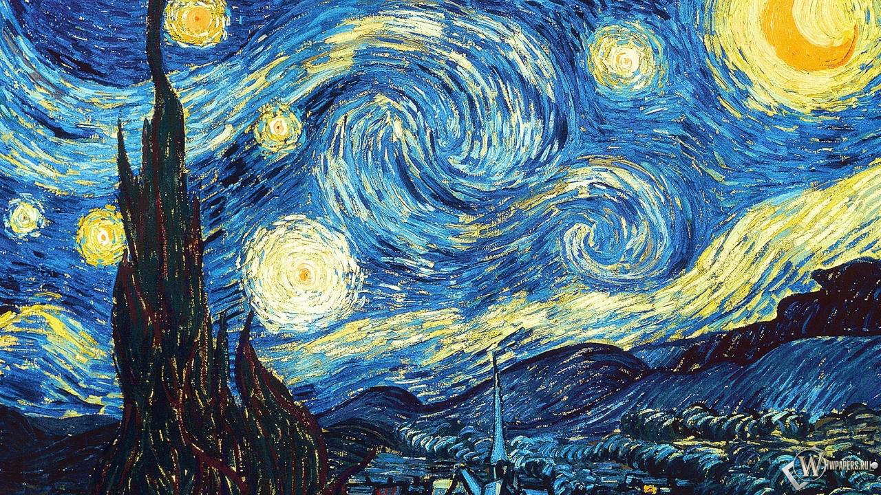 Ван Гог Звёздная ночь 1280x720