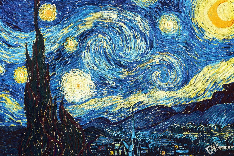 Ван Гог Звёздная ночь 1500x1000