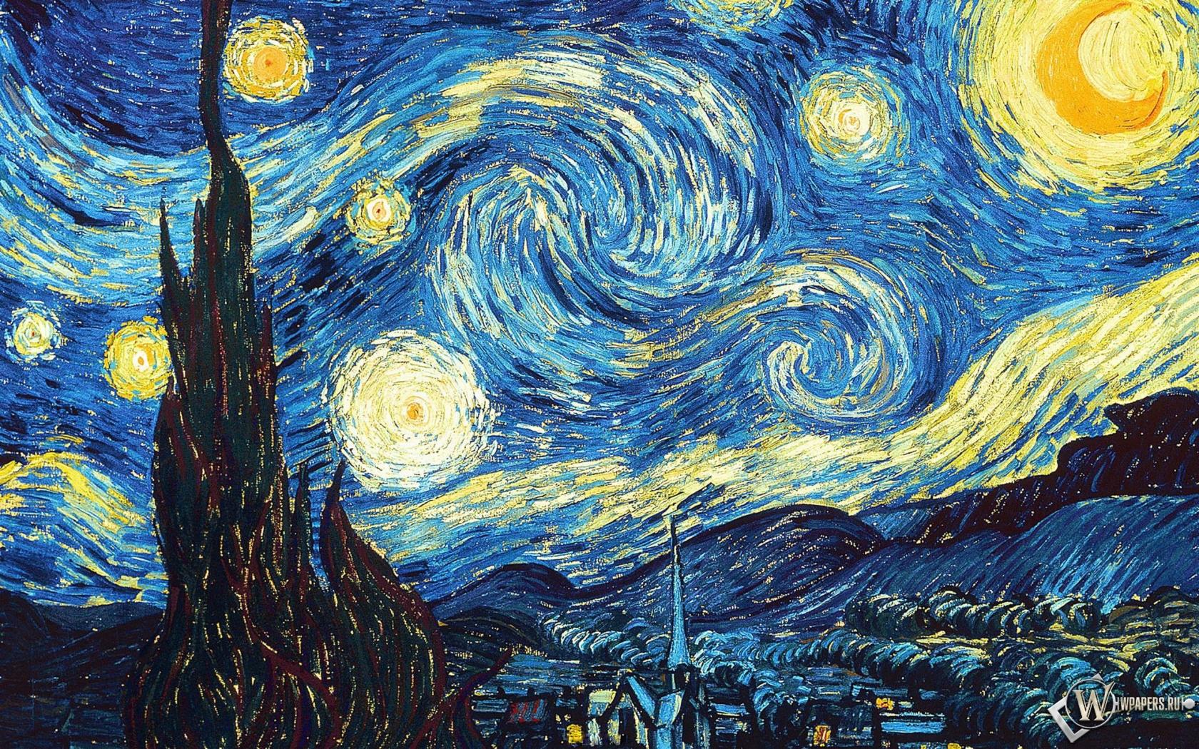 Ван Гог Звёздная ночь 1680x1050