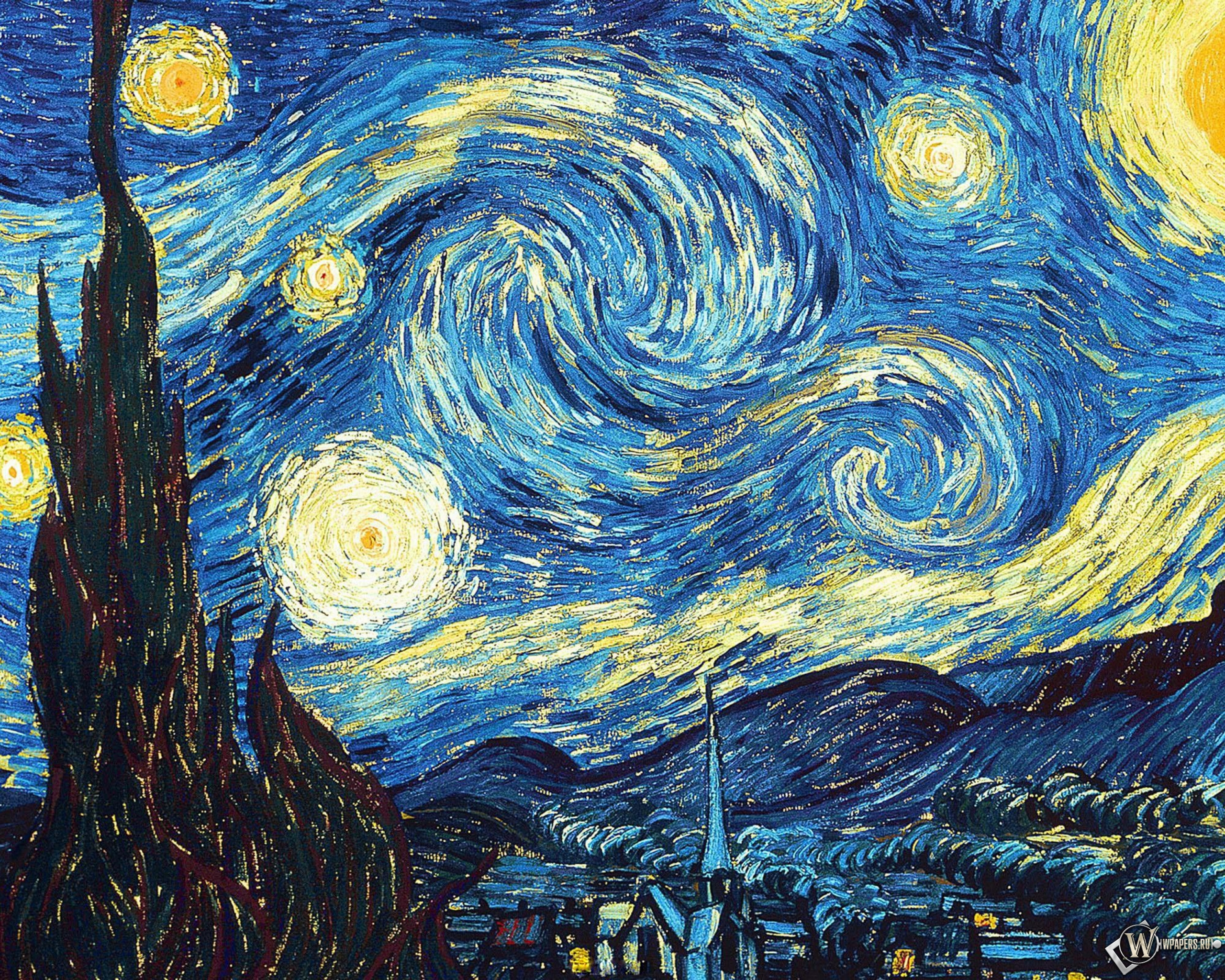 Ван Гог Звёздная ночь 2560x2048