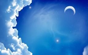 Обои Луна в облаках: Облака, Ночь, Луна, Небо, Разное