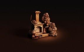 Обои Деревянная скульптура: Печь, статуэтка, Разное