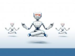 Обои Медитация роботов: Минимализм, Роботы, Медитация, Разное