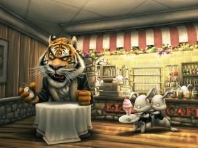 Тигр в кафе