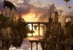 Обои Арт Kazumasa Uchio: Река, Город, Мост, Водопад, Разное
