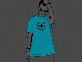 Обои Бирюзовая футболка: Парень, Крест, Футболка, Разное