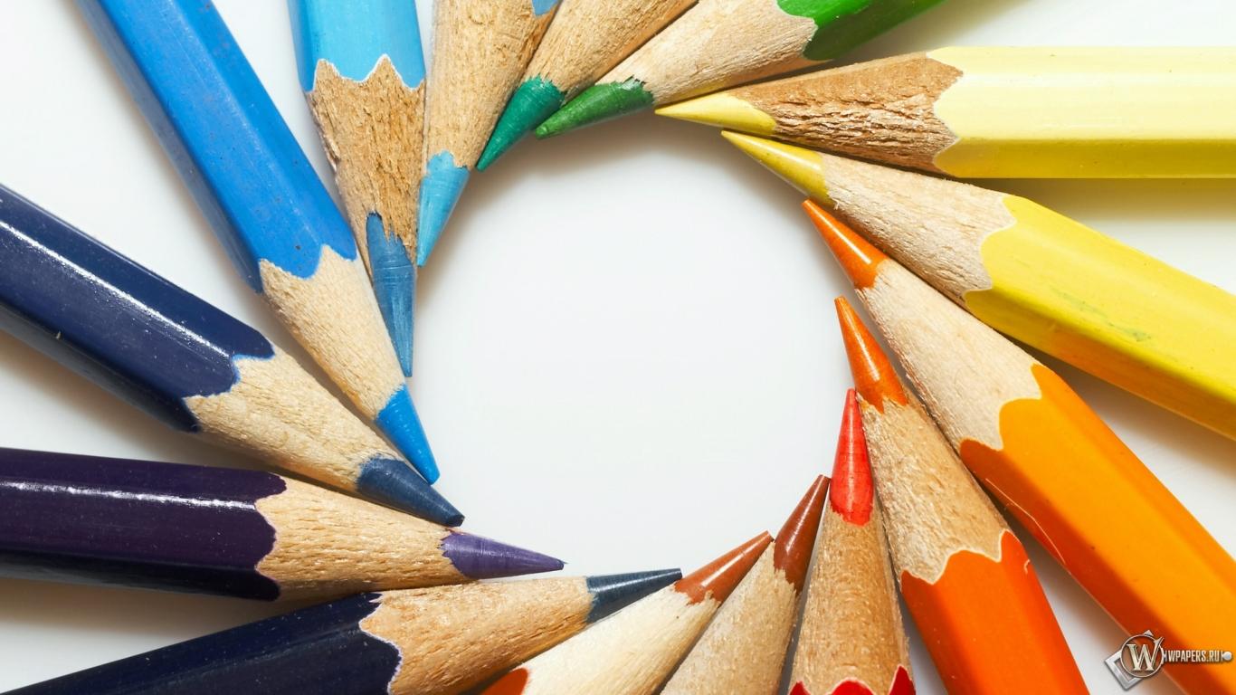 Цветные карандаши 1366x768