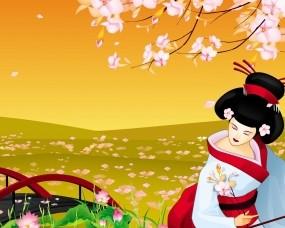 Обои Культура Японии: Девушка, Япония, Сакура, Разное