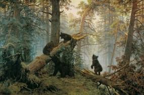 Обои Картина Шишкина: Картина, Медведи, Шишкин, Творчество, Разное