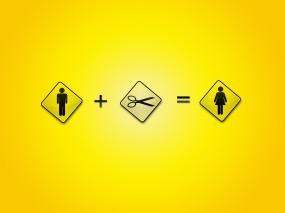 Обои Равно женщина: Юмор, Женщина, Мужчина, Ножницы, Разное