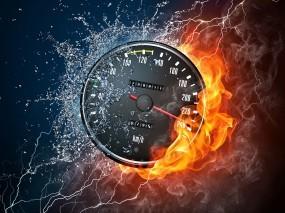 Обои Спидометр 240 км/ч : Скорость, Вода, Огонь, Спидометр, Разное