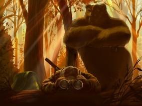 Обои На охоте: Лес, Медведь, Юмор, Охотник, Бинокль, Разное