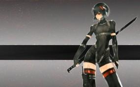 Обои Девушка самурай: Оружие, Мечи, Телка, Аниме