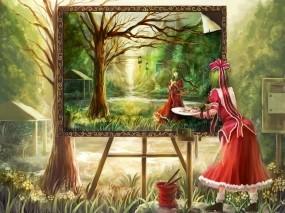 Обои Kagiyama hina: Платье, Картина, Рисунок, Пейзаж, Краски, Аниме