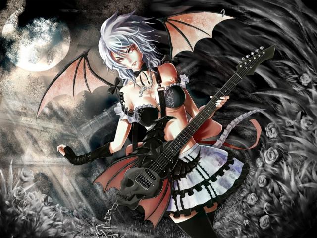Аниме девушка с гитарой