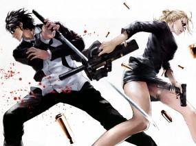 Обои Аниме оружие: Кровь, Оружие, Катана, Аниме, Женщина, Мужчина, Аниме