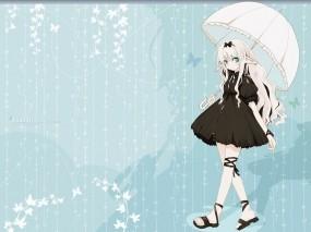 Обои Аниме девушка с зонтиком: Девушка, Бабочки, зонтик, Аниме