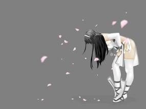 Обои Цветущая сакура: Девушка, Лепестки, Сакура, Аниме