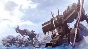 Обои Меха-роботы: Облака, Меха, Вода, Берег, Небо, Птицы, Аниме