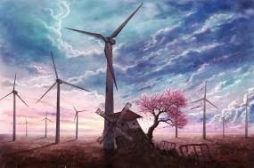 Обои Мельница у ветряков: Мельница, Лепестки, Небо, Сакура, Аниме