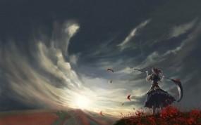 Обои Onozuka Komachi: Ветер, Небо, Коса, Аниме