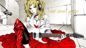 Обои Девушка с гитарой: Платье, Блондинка, Аниме, Гитара, Аниме