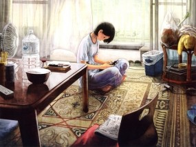 Обои Быт: Комната, Девушка, Аниме, Аниме