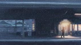 Обои 5 сантиметров в секунду: Снег, Станция, 5 сантиметров в секунду, Аниме