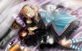 Обои Девушка спит: Девушка, Кровать, Ноутбук, Наушники, Аниме