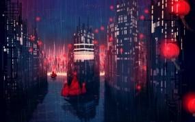 Обои Город дождя: Город, Ночь, Дождь, Аниме, Аниме
