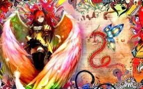 Обои Девушка с крыльями: Девушка, Дракон, Аниме, Ангел, Аниме
