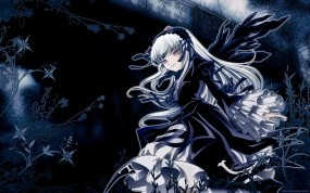 Обои Мрачная девушка: Платье, Девушка, Цветы, Аниме, Аниме
