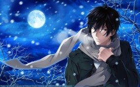 Обои Psychic Detective Yakumo: Снег, Ночь, Луна, Парень, Аниме, Шарф, Аниме