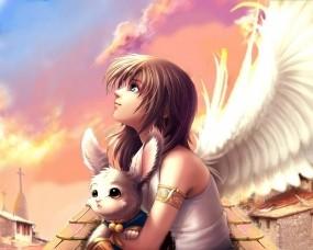 Обои Ангел: Девушка, Крылья, Аниме, Аниме