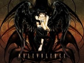 Обои Падший ангел: Девушка, Чёрный, Крылья, Падший Ангел, Аниме