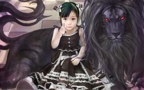 Обои Чёрный лев: Рисунок, Лев, Аниме, Девочка, Аниме