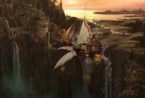 Обои Kazumasa Uchio: Река, Город, Водопад, Корабль, Аниме